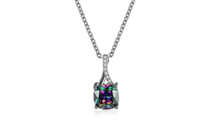 18K White Gold Plated Rainbow Necklace Made with Swarovski Crystals by Jewelry Elements