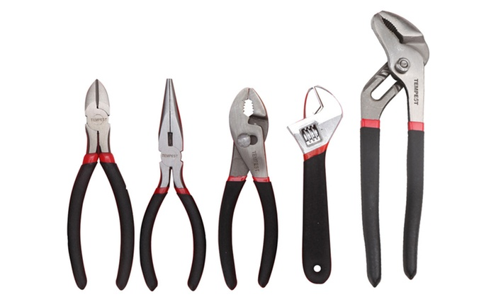 5-Piece Toolkit with Pliers and Adjustable Wrench: 5-Piece Toolkit with Pliers and Adjustable Wrench. Free Returns.