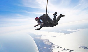 Mustang Island Skydive: Tandem Skydive with Souvenir T-Shirts for One or Two at Mustang Island Skydive (27% Off)