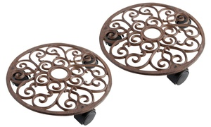 Iron Round Plant Trolley Set (2-Piece)