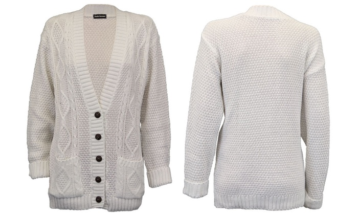 Cable Knit Boyfriend Cardigan | Groupon Goods