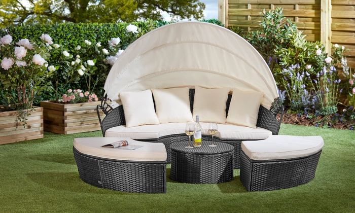 Rattan-Effect Daybed Sun Island with Table and Optional Cover from £299.99