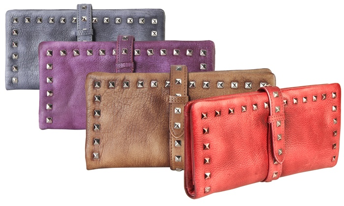 Diophy Genuine Leather Studded Wallet