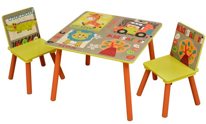 table pour enfant avec 2 chaises groupon. Black Bedroom Furniture Sets. Home Design Ideas