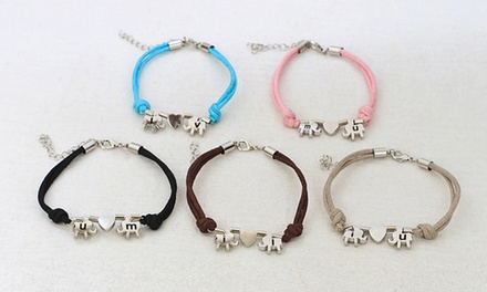 One or Two Personalized Lucky Elephant Bracelets with Engraved Initials (Up to 93% Off)