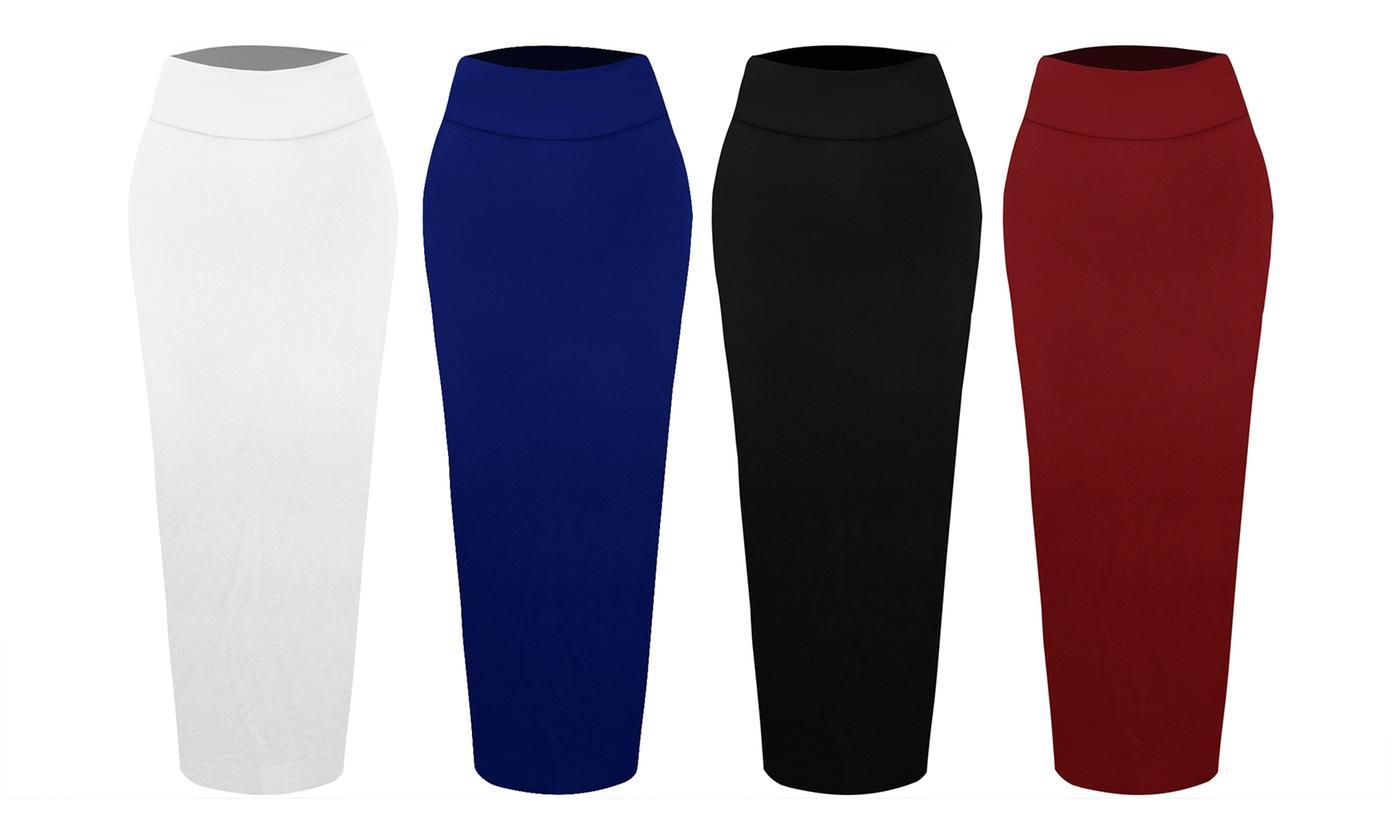 High Waisted Stretch Bodycon Midi Skirt