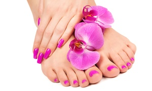 The Hair International Salon: One or Two Gel Manis, or One Gel Mani with a Spa Pedi at The Hair International Salon (Up to 47% Off)