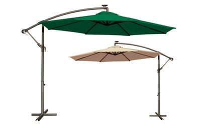 10' Patio Umbrella With LED Lights - Green or Tan at 1Perfectchoice