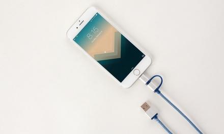 Cable conector micro USB y Lightning 2 en 1 por 7,99 € (78% de descuento)