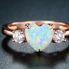White Fire Opal Heart Engagement Ring by Gembassy