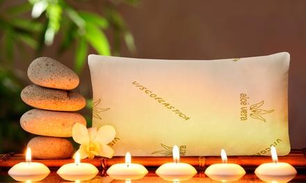 1 o 2 almohadas con copos viscoelásticos, aroma body milk y tratamiento aloe vera
