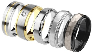 Spikes Men's Titanium Comfort Fit Wedding Band Ring