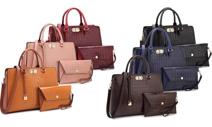 c769453da541cb MK Belted Collection M Croco Satchel Handbag and Wallet Set (2-Piece ...