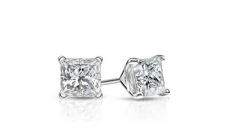 2 CTTW Princess-Cut Swarovski Elements Stud Earrings