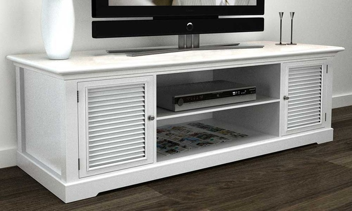 Astonishing White Wooden Tv Stand Groupon Goods Machost Co Dining Chair Design Ideas Machostcouk