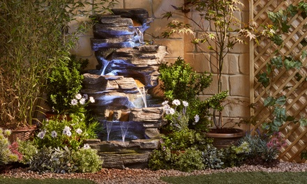 Cascading Rock Pool Water Feature with LED Light With Free Delivery