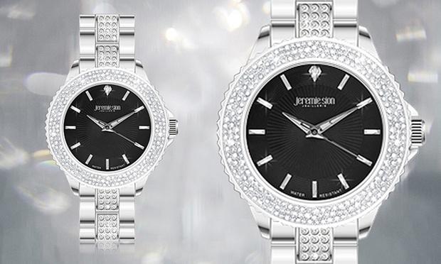 Cette montre en acier de la marque Jeremie Sion Joaillerie dotée d une  lunette en verre minéral sertie de 120 cristaux Swarovski® Elements taille  diamant, ... c0c1d915268