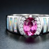 Pink Topaz & White Fire Opal Engagement Ring in 18K White Gold Plating