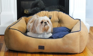 Crown-Embroidered Royal Bolster Pet Bed: Crown-Embroidered Royal Bolster Pet Bed