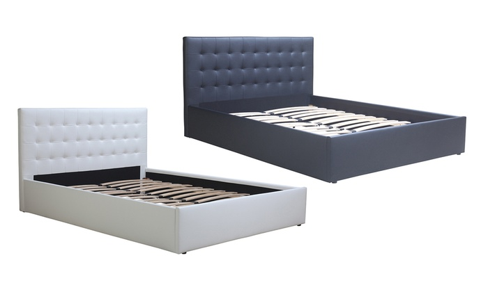 lit capitonn en simili cuir groupon shopping. Black Bedroom Furniture Sets. Home Design Ideas