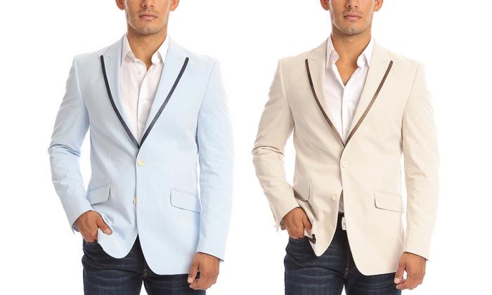 Verno Men's Seersucker Blazer (Sizes 38L & 46S)