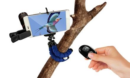 Pack de 3 accesorios para la fotografía: trípode flexible, telescopio zoom para smartphone y mando para selfies