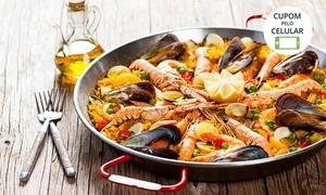 Moquecaria Calderaro: Paella com frutos do mar para 2 ou 4 pessoas à vontade no Moquecaria Calderaro – Jardim Monte Alegre