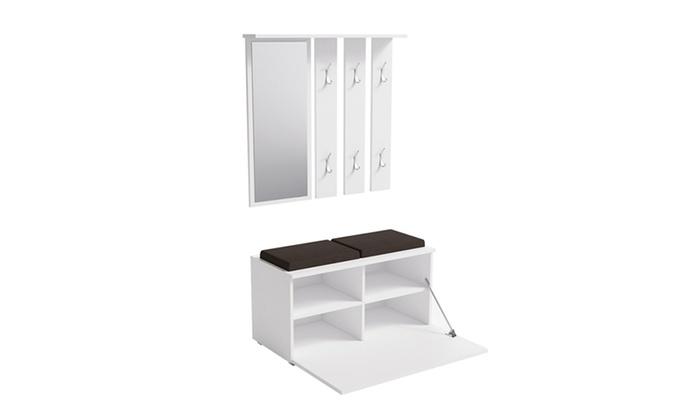 meuble de couloir avec banc groupon. Black Bedroom Furniture Sets. Home Design Ideas