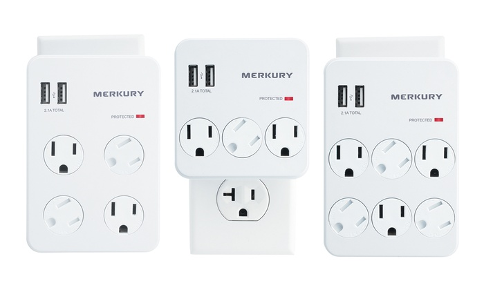 3-, 4-, or 6-outlet Surge Protector Wall Plate with 2 USB Ports