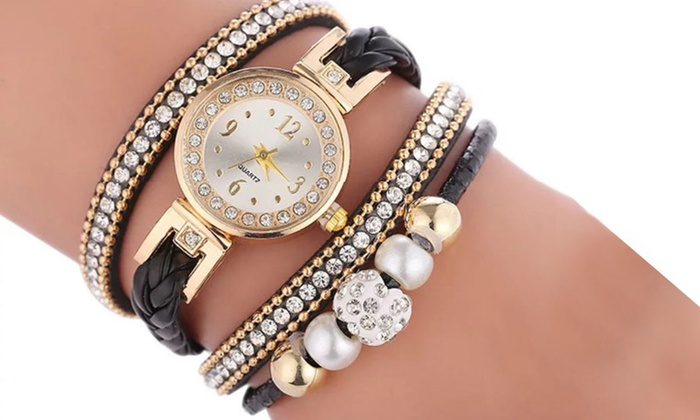 Layered Pearl and Crystal Multi Wrap Watch