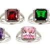 5 CTTW Cushion Cut Cubic Zirconia Rings in Solid Sterling Silver