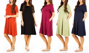 Women\s Flared T-Shirt Dress with Pockets (Plus Sizes Available)
