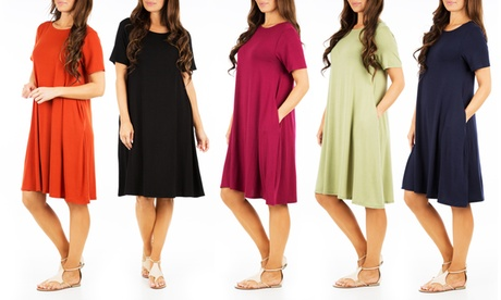 Women's Flared T-Shirt Dress with Pockets (Plus Sizes Available)