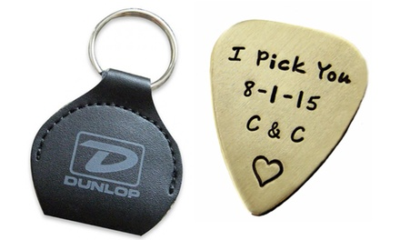Personalized Hand-Stamped Brass or Sterling-Silver Guitar Pick with Optional Keychain from JC Jewelry Design (Half Off)