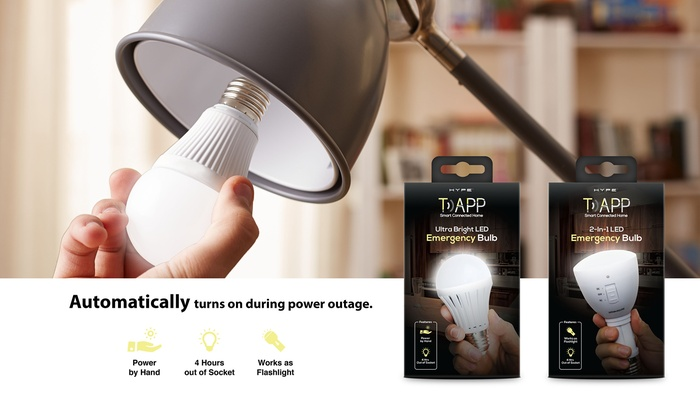 Ultra Bright Portable LED Emergency 2 in 1 Bulb with Rechargeable Battery