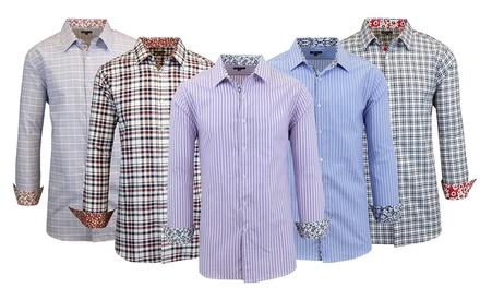 Men 39 s pinpoint oxford long sleeve dress shirt groupon for Mens pinpoint dress shirts