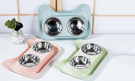 Spill Proof Stainless Steel Pet Bowl: One $15 or Two $24