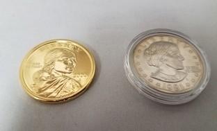 1981 Susan B. Anthony Dollar with 24K Gold Plated Sacagawea Dollar