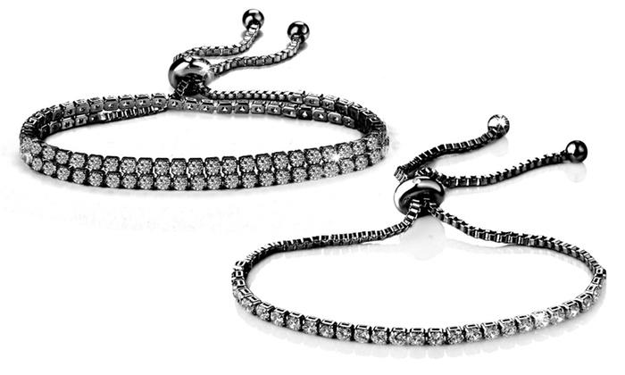 Philip Jones Silver Solitaire Friendship Bracelet with Crystals from Swarovski® hg5vT