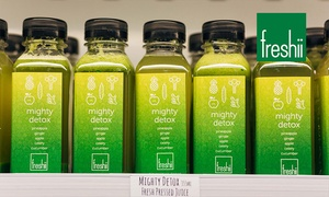 Freshii: Cold Press Juice Cleanse with 4 ($14), 12 ($42) or 20 Juices ($69) from Freshii, Five Locations (Up to $119.80 Value)