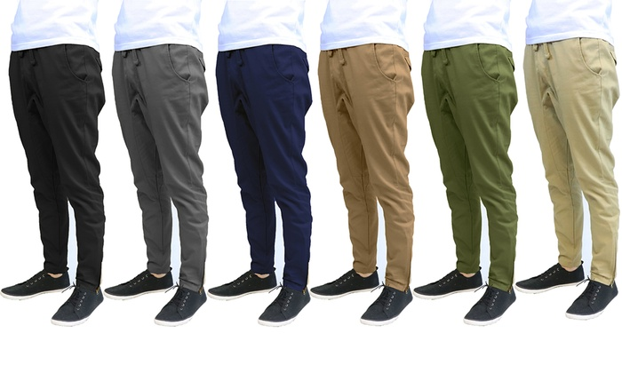 strong packing new release new photos Men's Slim-Fit Cotton Twill Joggers with Zipper Bottom (2 ...