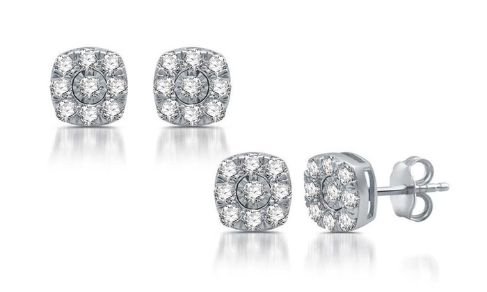 1 2cttw Diamond Cer Square Frame Stud Earrings In Sterling Silver