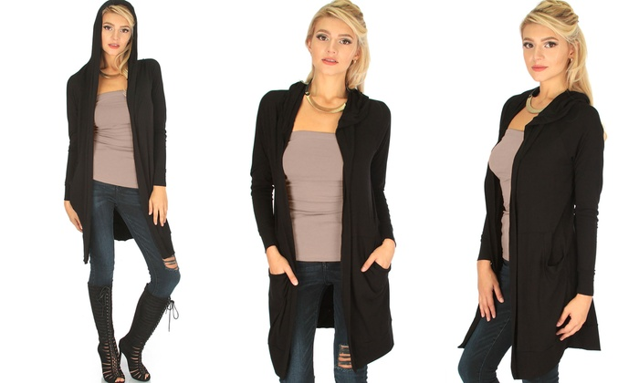 Lyss Loo Women's Longline Hooded Cardigan | Groupon
