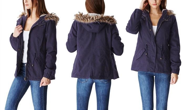 Women's Anorak Jacket with Fur-Lined Hood (Size L)
