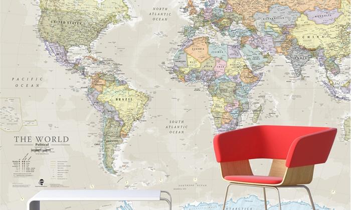 Giant World Map Mural Groupon Goods - Buy giant world map