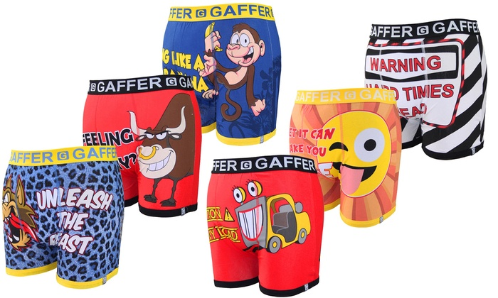 Three- or Six-Pack of Gaffer Novelty Boxer Shorts from £7.99