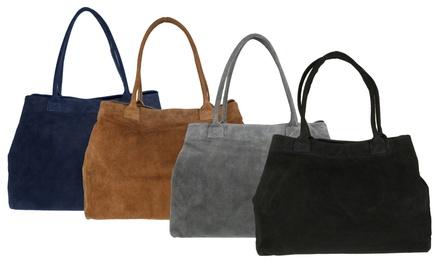Elsa Italian Suede Shoulder Bag in Choice of Colour