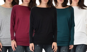 Lyss Loo Contemporary Long Sleeve Dolman Tunic Tops (3-Pack)