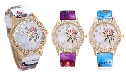 Womens Quartz Rose Wrist Watch