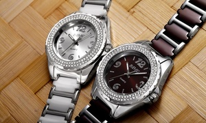 Clearance: August Steiner Women's Watch with a Crystal-Studded Bezel